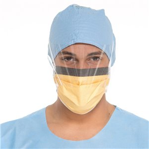 Softfit Surgical Mask with Visor Pleated with Ties FogFree Honeycomb Level 3 Orange, 25/BX 4BXCS 100CS
