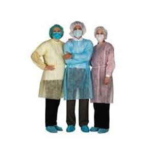 AssureWear SMS Isolation Gown with Tape Closure at Neck, Yellow, Regular, 10/BG 10BGCS  100