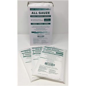 All Cotton Gauze Sponge  Sterile  4x4In  8Ply  10s, 2/PCH 50PCH/TRAY 12TR/BX 1200