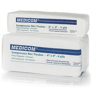 NonWoven Sponge 2x2In 4Ply White, CS 4000CS